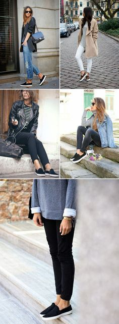 High-waist jeans, a slow hat, an extended cardigan and slip-on sneakers create the ideal attractive and casual outfit. slip on sneakers outfit summer casual How To Wear Loafers, Loafers Outfit, Vans Outfit, Winter Outfits For Work, Spring Outfits, Outfit Winter, Outfit Summer, Beste Jeans, Look 2015