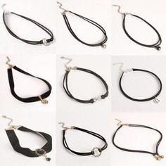 Venta caliente del precio bajo Celebrity Doble Capa Negro de Cuero de Imitación Collar de Gargantilla Gótico negro simple r collar vintage