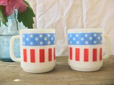 Set of vintage milk glass American flag coffee cups. $10.00, via Etsy.