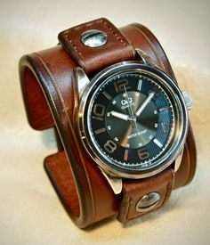 Leather cuff Watch Vintage Brown bridle leather by mataradesign, $210.00