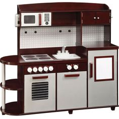 This Guidecraft childrens kitchen is one of the largest play kitchens available. It is a very rich espresso design with silver accents.  [$249.95]