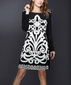 Black & White Boatneck Dress