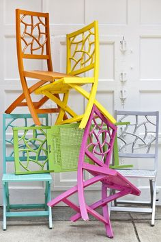 These colorful chairs will look great next to any patio table.