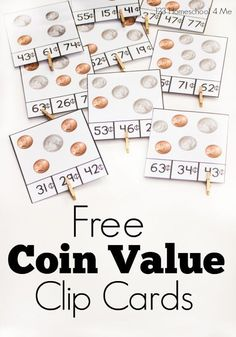 FREE Coin Value Clip Cards - great printable for helping kids practice counting money (math, 1st grade, 2nd grade, 3rd grade)
