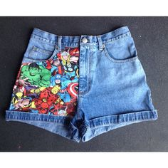 Marvel Avengers High Waisted Shorts All Sizes ($35) ❤ liked on Polyvore featuring shorts, bottoms, frayed shorts, highwaisted shorts, cuffed shorts, highwaist shorts and high rise shorts