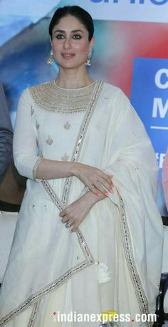 Recently, Kareena Kapoor Khan was spotted at Mehboob Studio along with designer Anita Dongre, and for her casual look, she picked an olive green number from AND. Dress Indian Style, Indian Fashion Dresses, Indian Gowns, Indian Attire, Indian Wear, Salwar Designs, Kurta Designs Women, Kurti Designs Party Wear, Dress Designs
