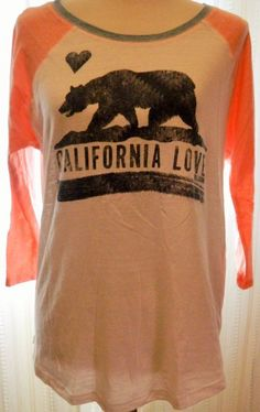 "Women's Billabong Tshirt ""California Love"" Bear Logo Size L #Billabong #EmbellishedTee"