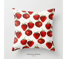 Strawberries Throw Pillow Cover 16x16 by HeartofHeartsDesigns