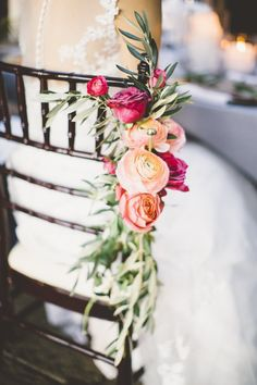 Floral chair decor by Sweet Root Village. Photo by Sincereli Photography (via MODwedding).