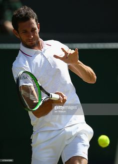 James Ward of Great Britain plays a forehand in his Mens Singles Third Round match against Vasek Pospisil of Canada during day six of the Wimbledon Lawn Tennis Championships at the All England Lawn Tennis and Croquet Club on July 2015 in London, England. Vasek Pospisil, James Ward, Wimbledon Tennis, Lawn Tennis, Tennis Championships, London England, Great Britain, Plays, Third