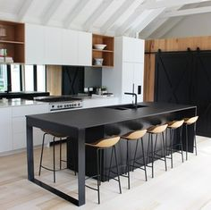 Located at 31 Crummer Road, Ponsonby, Auckland, NZ. Beach House Kitchens, Home Kitchens, Small Balcony Decor, Custom Kitchens, Modern Kitchen Design, Kitchen Designs, New Kitchen, Kitchen Ideas, Custom Furniture