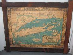 Vintage Wood Framed 1933 1961 Cortland Smith Map Of Long Island New York NY LI