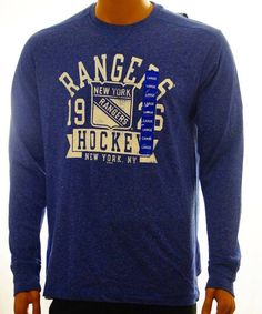 NHL NEW YORK RANGERS HOCKEY ATHLETIC T-SHIRT MEN LARGE BLUE - NEW #NHL #NewYorkRangers #HOCKEY