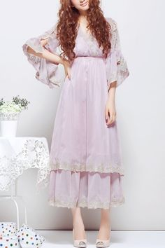 Lace Embellished Trumpet Sleeve Ankle Length Dress
