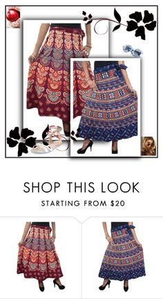 """Cotton Printed Wrap Skirts"" by india-trendzs ❤ liked on Polyvore featuring Pinko, Sophia Webster, maxi, wrapskirt, wraparoundskirt and bohemiastyle"