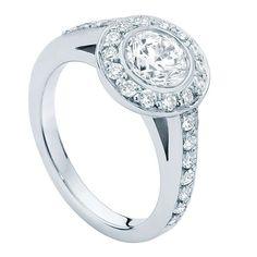 Round Halo Engagement Ring White Gold   Aurora