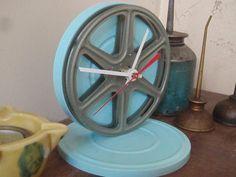 Vintage Movie Reel Clock  Aqua  Repurposed and Upcycled by lahaine, $25.00