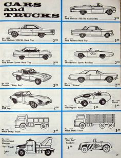 "Vintage listing of aurora plastics corp. scale (h. gauge) slot cars with the fabulous ""pancake"" motor, copyright 1963 Ho Slot Cars, Slot Car Racing, Slot Car Tracks, Cars 1, Ford Galaxie, Living At Home, Dinners For Kids, Car Videos, Aurora"