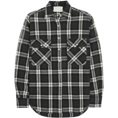 R13 Zip-detailed plaid stretch-cotton shirt (2.695 ARS) ❤ liked on Polyvore featuring tops, shirts, flannel, blouses, black, curved hem shirt, oversized shirt, loose tops, loose shirt and tartan shirt