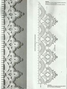 If you looking for a great border for either your crochet or knitting project, check this interesting pattern out. When you see the tutorial you will see that you will use both the knitting needle and crochet hook to work on the the wavy border. Crochet Boarders, Crochet Edging Patterns, Crochet Lace Edging, Crochet Motifs, Crochet Diagram, Crochet Chart, Thread Crochet, Crochet Designs, Crochet Doilies
