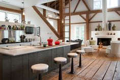 My Houzz: Rustic Meets Refined in a Converted Ohio Barn - Love the original wood beams! (*R*)