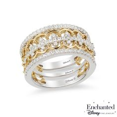 Zales 1/10 CT. T.w. Diamond Three Piece Stackable Band Set in Sterling Silver and 14K Two-Tone Gold Plate q4AytZdZ