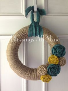 14 inch Jute Twine-Wrapped Wreath, Turquoise, Yellow, Neutral Burlap Flowers, Summer Fall Wreath, Bridal Shower, Wedding Wreath and/or Gift