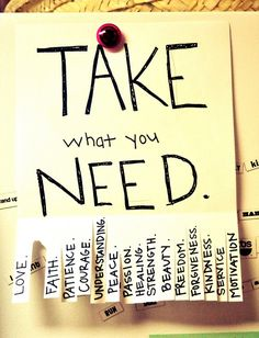 Yes take what you need! Put this on your fridge and see what the rest of the family needs for the day or the week.....