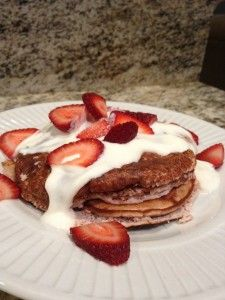 Strawberry Protein Pancakes!  These are delicious!!! Oats and protein powder instead of flour.  YUM!