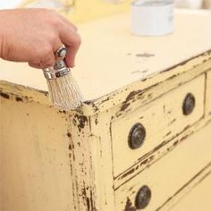 How to Create an Aged Milk Paint Patina on Furniture Seal milk paint with wax. With a round wax brush, apply finishing wax in a circular motion, about 1 square foot at a time, wiping away any excess with a rag as you go. Milk Paint Furniture, Refurbished Furniture, Furniture Projects, Furniture Makeover, Antique Furniture, Diy Furniture, Rustic Furniture, Furniture Plans, Yellow Distressed Furniture