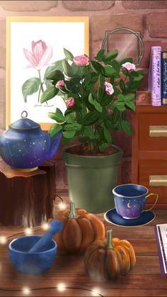 Autumn Witch Desk | Phone Wallpaper