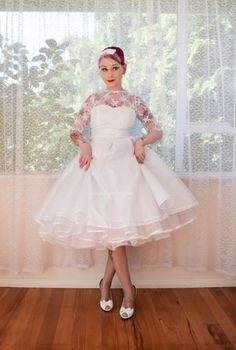 sassy vintage wedding look! tea length dress, faux neckline, veil