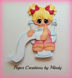 Craftecafe Mindy Potty bath girl baby premade paper piecing scrapbook page