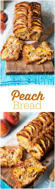 Peach Bread - An incredibly moist and tender dessert bread loaded with five peaches and topped with a sticky brown sugar glaze!Peach Bread - An incredibly moist and tender dessert bread loaded with five peaches and topped with a sticky brown sugar glaze! Fruit Recipes, Sweet Recipes, Dessert Recipes, Cooking Recipes, Fresh Peach Recipes, Nutella Recipes, Fruit Bread, Dessert Bread, Bread Cake