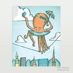 Octopus with Umbrella, Charleston Tightrope Series - Tami Boyce Cardboard Packaging, Great Love, Kids Decor, Octopus, Charleston, Doodles, My Arts, Stamp, Texture
