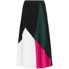 Proenza Schouler Color-Blocked Pleated Knitted Midi Skirt found on Polyvore featuring skirts, multicolor, colorful skirts, color block pleated skirt, pleated midi skirt, midi flare skirt and midi skirts