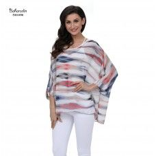 4b6fdbd6d1e Baharcelin Vestidos 2018 Summer Blouse Batwing Sleeve Casual Women Blouse  Plus Size Striped Chiffon Top Clothing
