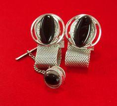 Dante Mesh Wrap Cufflinks BLack Vintage Silver Tie Tack Set Modernist Mens Ladies designer bars wedding jewelry groom gift formal wear