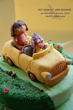sculpted Car 2 tier Dora & Boots Cake | Flickr - Photo Sharing!