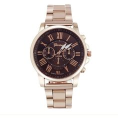 Elegant Stylish Fashion Roman Numberals Stainless Steel Band Unisex Watch