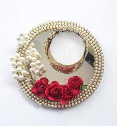 diya decoration ideas Pair - Mirror pearl and rose Diya Diwali Candle Holders, Diwali Candles, Candle Holder Decor, Diwali Decoration Items, Thali Decoration Ideas, Decor Ideas, Diwali Diya, Diwali Craft, Desi Wedding Decor