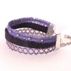 Bracelet trois rangs dentelle/cuir coloris mauve/violet