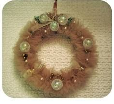 Tulle and vintage ornament wreath, from vintageindie.typepad.com