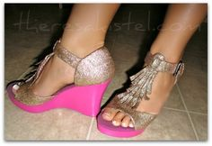DIY glitter shoes...loads of tutorials on her site!!! Love love love how she revamped the shoes!! Must try!!