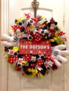 Mickey Mouse Wreath Mickey Mouse Disney by UniqueWreathDesign