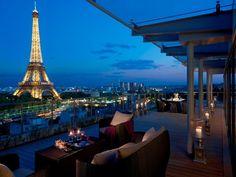 Eiffel Tower Tour d'Eiffel Patio Balcony Modern Apartment Hotel Outside View Blue Sky Paris France Summertime April in Paris Candles Lanterns Exterior Deisgn