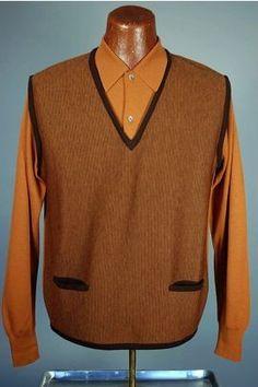 Orange stripe Italian wool 1960s Rat Pack mens sweater SW92