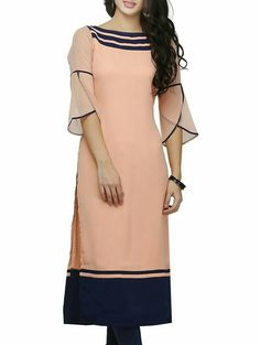 Three quarter tulip sleeve dress with contrast piping, hem and neckline in peach and navy