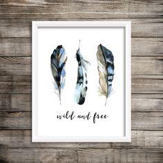Wild and Free Blue Watercolor Feathers 8x10 Printable Wall Art Feather Print Tribal Print Boho Baby Boy Nursery Decor Kids Room Bedroom