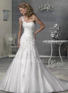 Wedding Dresses - $214.99 - Amazing A-Line/Princess One-Shoulder Chapel Train Organza Satin Wedding Dresses With Ruffle Lace Beadwork (002004516) jenjenhouse.com